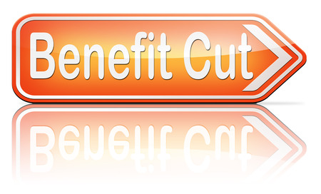 work less: Benefit cuts tax cut on housing child and social works reduce spending Stock Photo