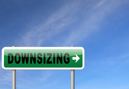 Downsizing firing workers jobs cuts job loss reorganization crisis recession, road sign billboard. Stock Photo