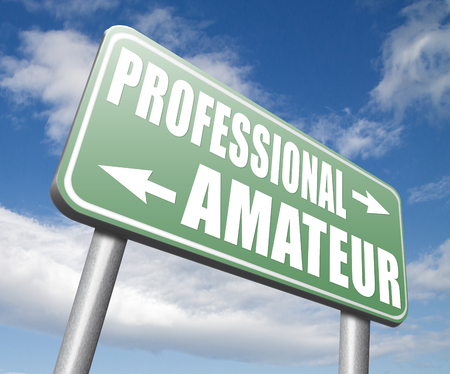 recruit: professional amateur expert novice or beginner skilled specialist or recruit and rookie road sign
