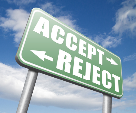 yes or no: accept reject approve or decline and refuse offer proposal or invitation, yes or no Stock Photo