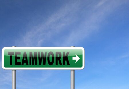 our company: teamwork road sign concept, team work and cooperation in partnership working together business partners Stock Photo