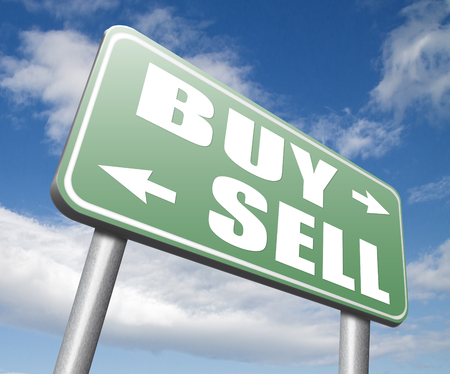 buying stock: buy or sell market share buying or selling on stock market exchange international trade road sign text Stock Photo