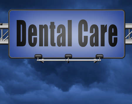 oral surgery: Dental care center oral hygiene or surgery for healthy teeth without caries but with a beautiful smile with text, road sign billboard.