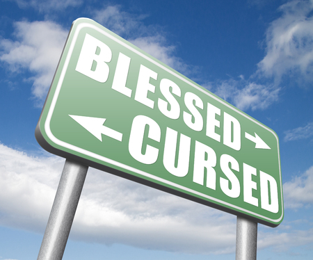 burden: blessed cursed sacred and Devine holy or curse dammed and a burden good or evil spell and lucky or unlucky road sign arrow Stock Photo