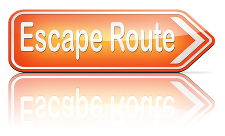 break free: escape route avoid stress and break free running away to safety emergency exit no rat race