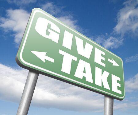 altruismo: dar a tomar para la caridad y el altruismo hacer una contribución o donación y donación generosa y donar a regañadientes barato Foto de archivo