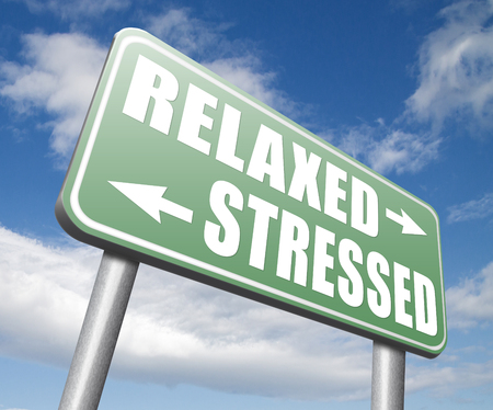 relaxed: relaxed stressed therapy to take it easy relax and be stress free assessment and management Stock Photo