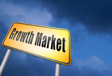 emerging markets: growth market road sign