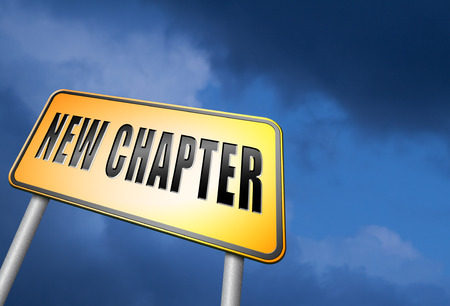 chapter: New chapter road sign Stock Photo
