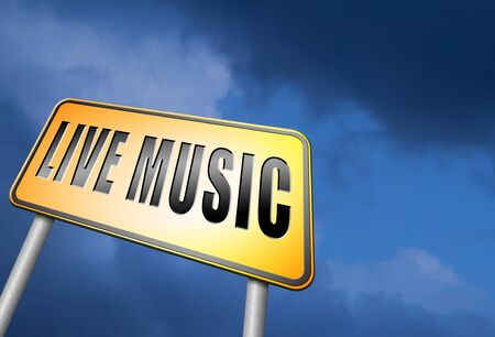 live stream radio: Live music road sign Stock Photo