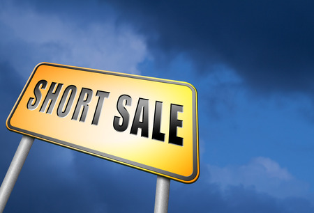 short sale: short sale road sign Stock Photo