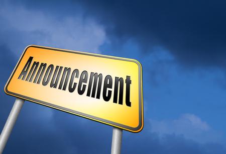 public opinion: Announcement road sign