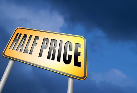 half price: half price road sign Stock Photo