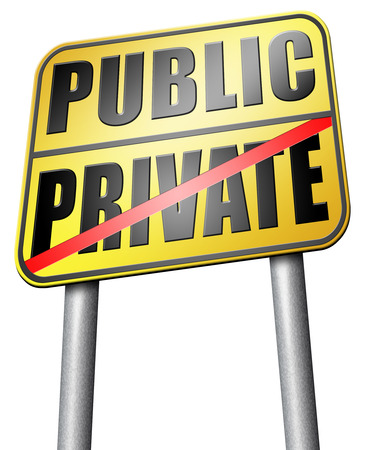 private hospital: public or private road sign Stock Photo