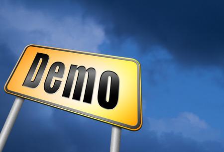 demo: Demo road sign Stock Photo