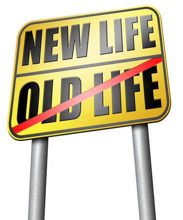 new life: new life or old life road sign Stock Photo