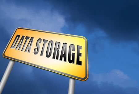 storage: data storage road sign Stock Photo