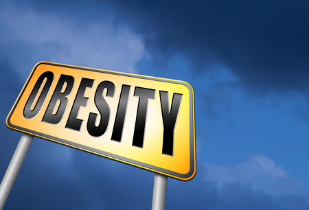 fatness: Obesity road sign Stock Photo