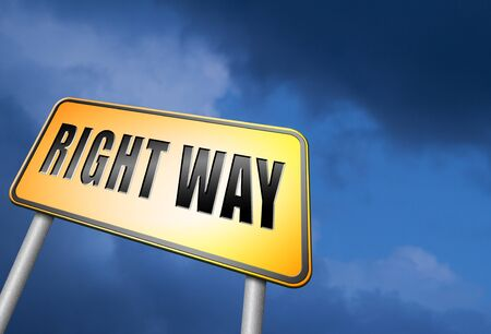 difficult decision: Right way road sign Stock Photo