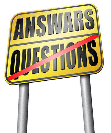 question and answer: question answer road sign Stock Photo