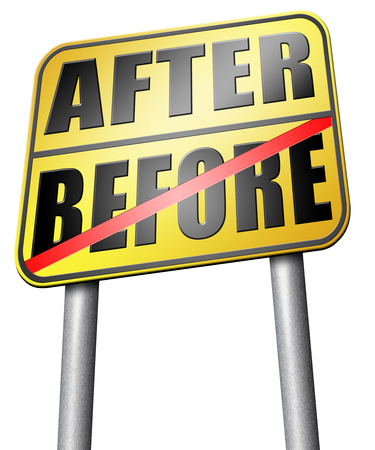 before and after: before after road sign Stock Photo