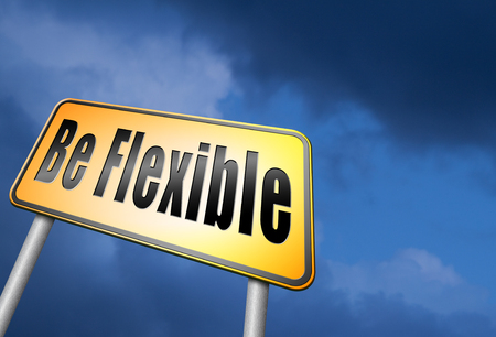 be: Be flexible road sign Stock Photo