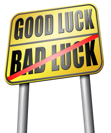 bad fortune: good fortune bad luck road sign Stock Photo
