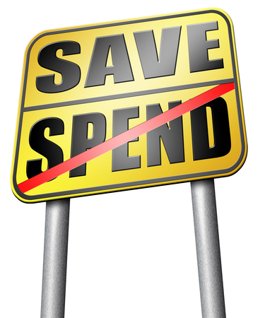 balanced budget: save spend road sign