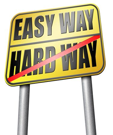 way out: easy way or hard way road sign Stock Photo