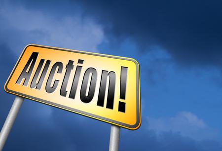 online bidding: Online auction road sign