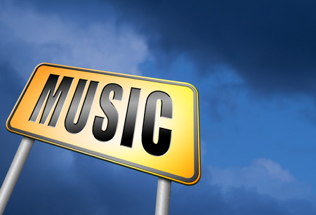 live stream listening: Music road sign