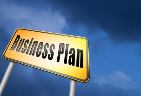 business sign: business plan road sign