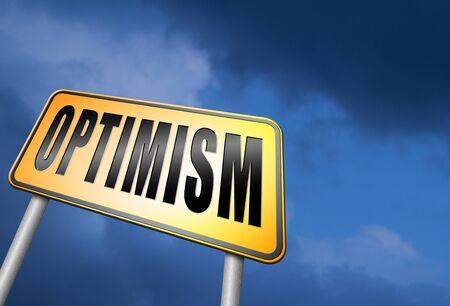 optimismo: señal de tráfico optimismo