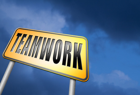 our company: teamwork road sign Stock Photo