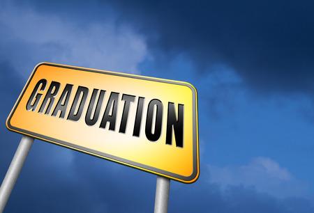 postgraduate: Graduation road sign