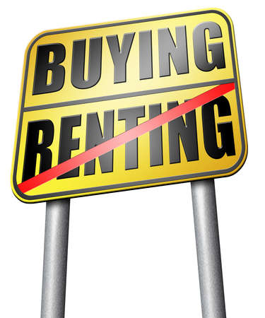 buying: Buying renting road sign Stock Photo