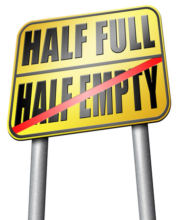 half full: half full or empty road sign