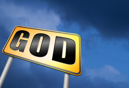 god button: God road sign Stock Photo