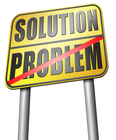 problem: problem solution road sign Stock Photo