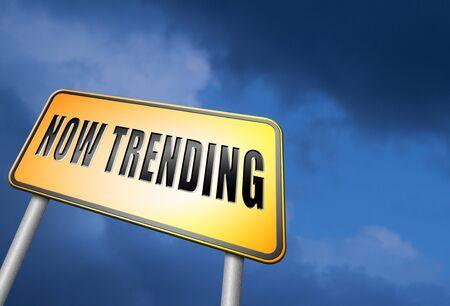 trending: Now trending road sign