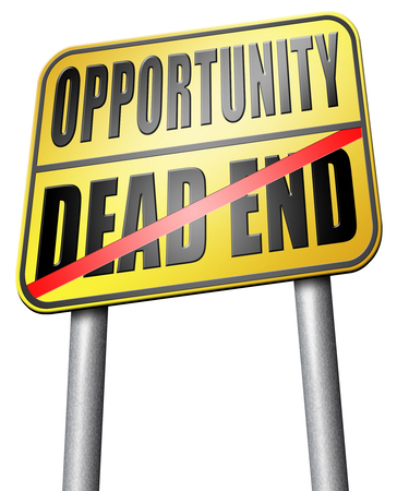 irrelevant: opportunity or dead end road sign Stock Photo