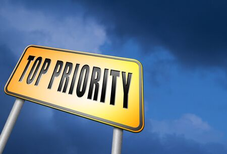 priority: Top priority road sign Stock Photo