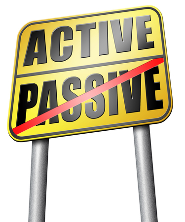 passive: active passive road sign Stock Photo