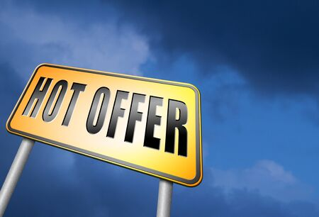the hot: hot offer road sign Stock Photo