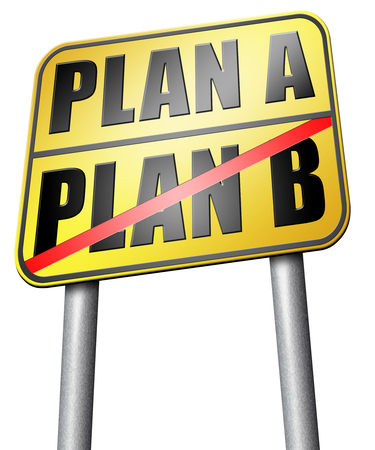 different strategy: plan a plan b road sign