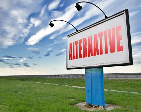 different goals: Alternative choice, choose different option, road sign billboard.