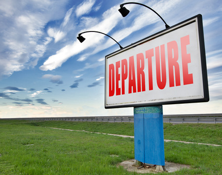depart: departure starting point of a journey depart departure icon departure button flight schedule road sign travel schedule billboard with text and word concept Stock Photo