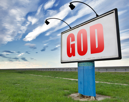 god button: God and salvation search road to heaven, religion and belief in the lord, road sign billboard.