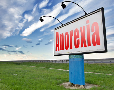 bulimia: Anorexia nervosa eating disorder with under weight as symptoms needs prevention and treatment is caused by extreme dieting, diet and bulimia, road sign billboard.