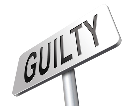 accuse: Guilty as charged, guilt and convicted for a crime in court, road sign billboard.